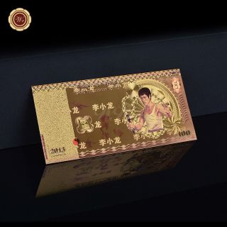 Wr Souvenir Colorful Bruce Lee Paper Note 100 Rmb Chinese Gold Foil Banknote photo