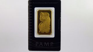 Pamp Suisse 1oz 999.  9 Fine Gold Fortuna Rectangular Ingot photo