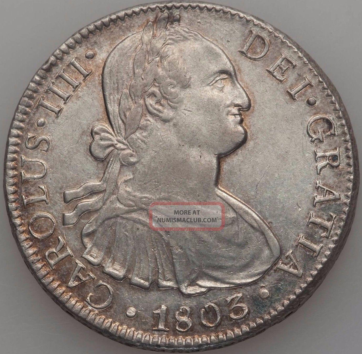 Charles Iv 8 Reales 1803 Mo - Ft Mexico photo