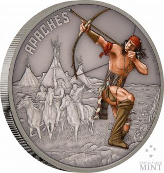 2017 Niue - Warriors Of History - Apaches 1 Oz Coin photo