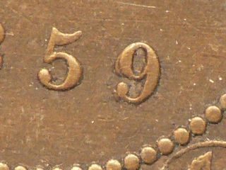Canada,  1859 Large Cent,  Iccs Dp 2 Ef - 40,  Double Punch Variety 4136 photo