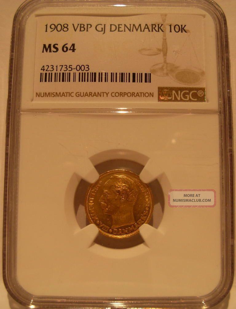 Denmark 1908 Vbp Gold 10 Kroner Ngc Ms - 64 Coins: World photo