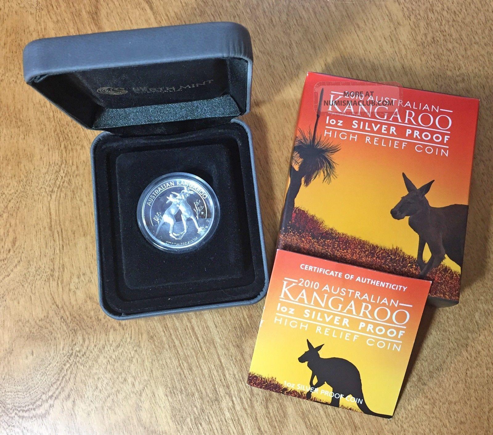 2010 $1 Kangaroo Silver Proof High Relief Piedfort 1 Oz.  999 Box & Commemorative photo