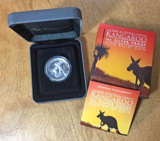 2010 $1 Kangaroo Silver Proof High Relief Piedfort 1 Oz.  999 Box & photo