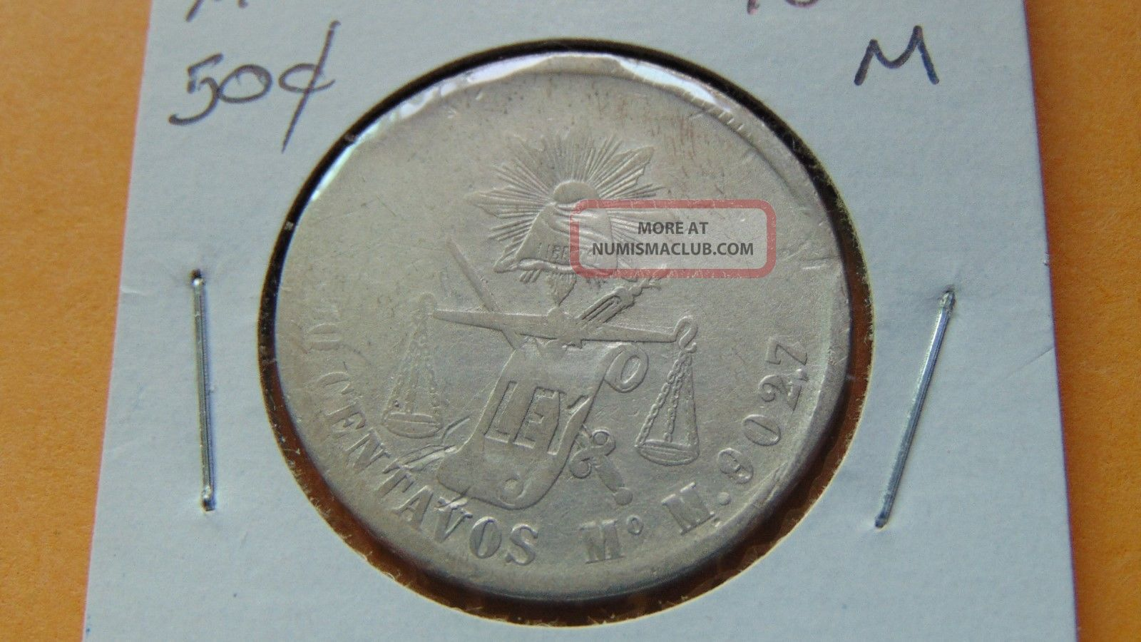 Mexico 50 Centavos,  1872 Mo M Silver Coin Second Republic (1867-1905) photo