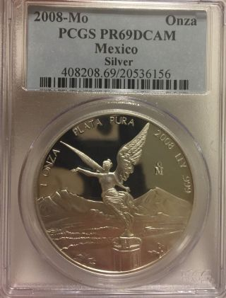 2008 Mexico Libertad Proof Onza 1.  0 Oz.  999 Silver,  Pcgs Pr69 Stunning Coin photo