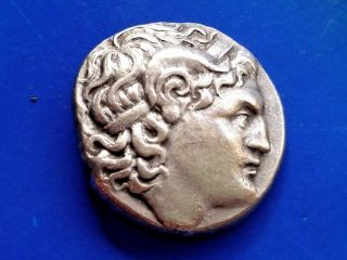 45.  Lysimachos,  The King Of Thrace,  Greek Silver Coin,  Tetradrachm 17,  18g;26,  6mm photo