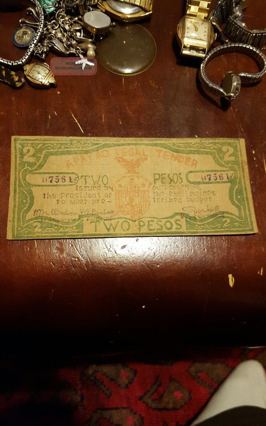 Philippine Apayao 2 Pesos Emergency Script Ww2 Note Only 4k Very Rare Asia photo