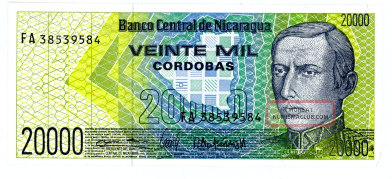 Nicaragua.  P - 160.  20,  000 Cordobas.  Nd (1989).  Ch Unc North & Central America photo