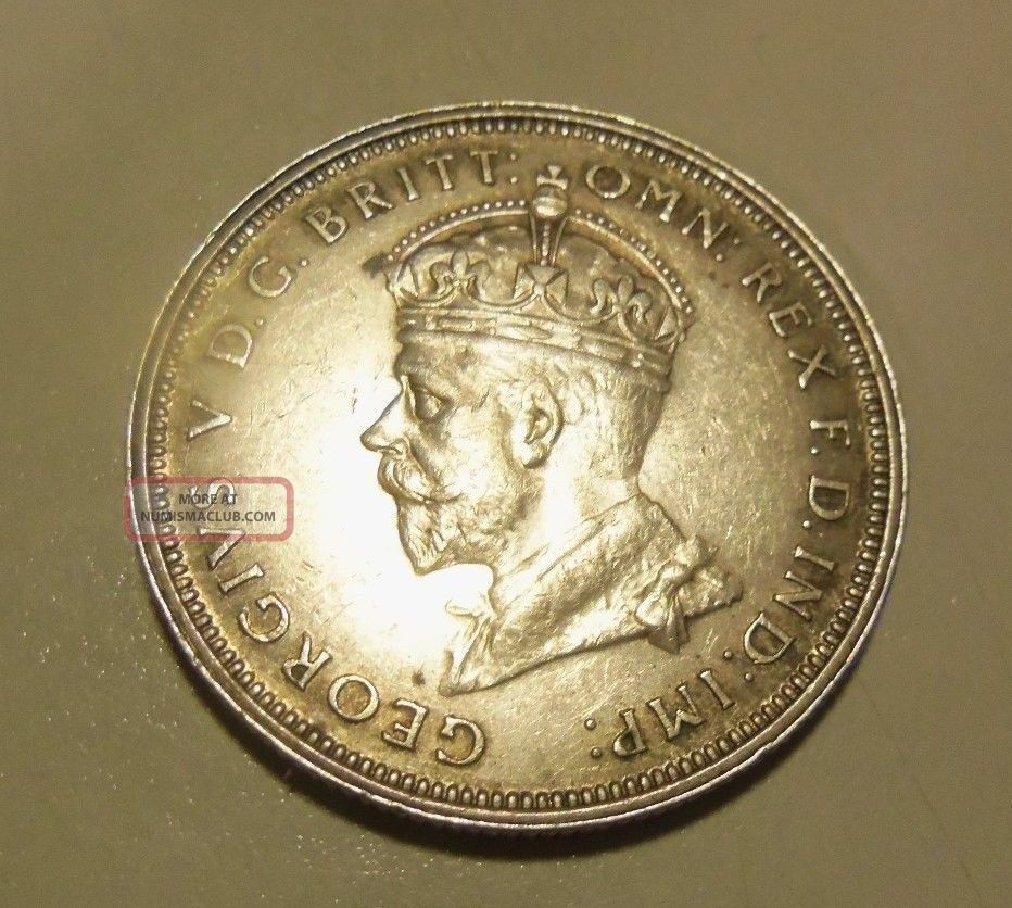 1927 Australian Florin Full Crown With 8 Pearls In Near Uncirculated Pre-Decimal photo