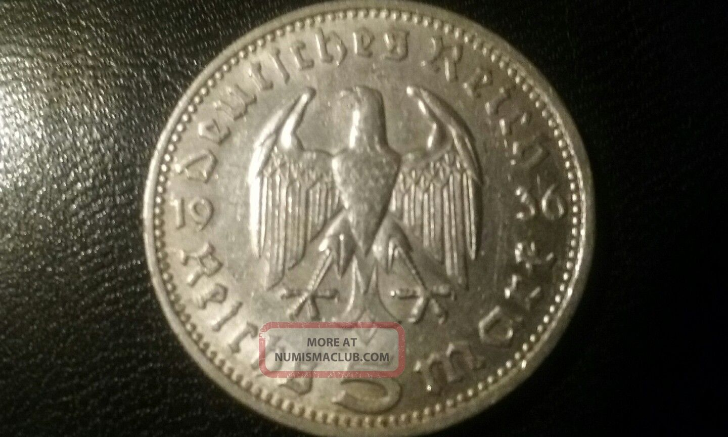 1936 D Germany 5 Mark.  900 Silver Coin.  This Is In Very Germany photo