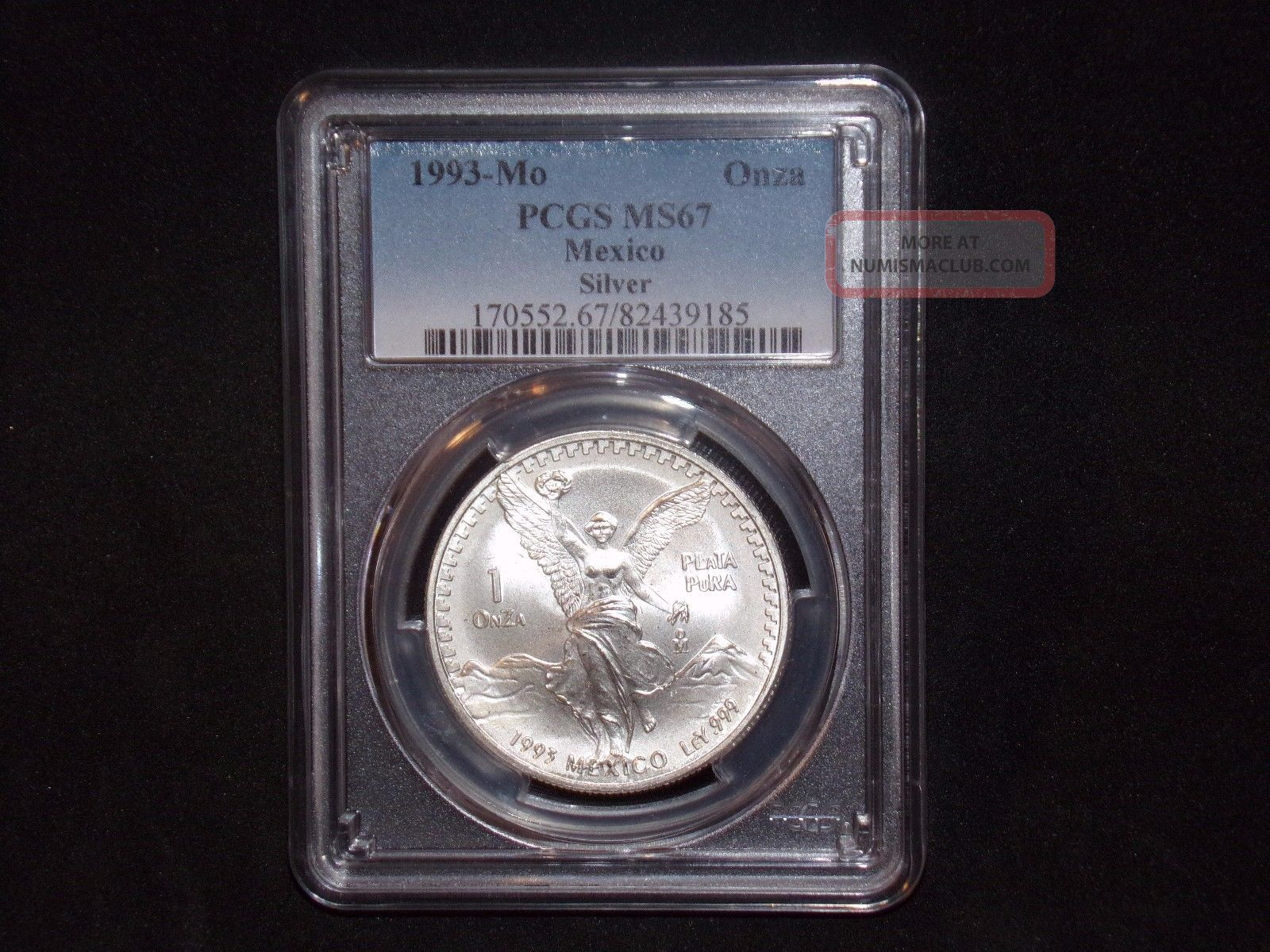 1993 - Mo Pcgs Ms67 1 Onza.  999 Silver Libertad Pop 29 Blast White Mexico photo