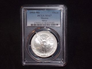 1993 - Mo Pcgs Ms67 1 Onza.  999 Silver Libertad Pop 29 Blast White photo