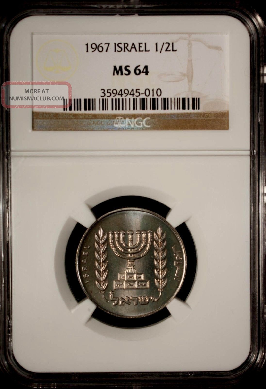 Israel 1967 1/2 Lirah Ngc Ms 64 Unc Copper Nickel Middle East photo