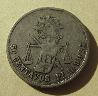 1873 Pi O Mexico 50 Centavos Cent Silver Coin Km407.  7 32,  000 Mintage photo
