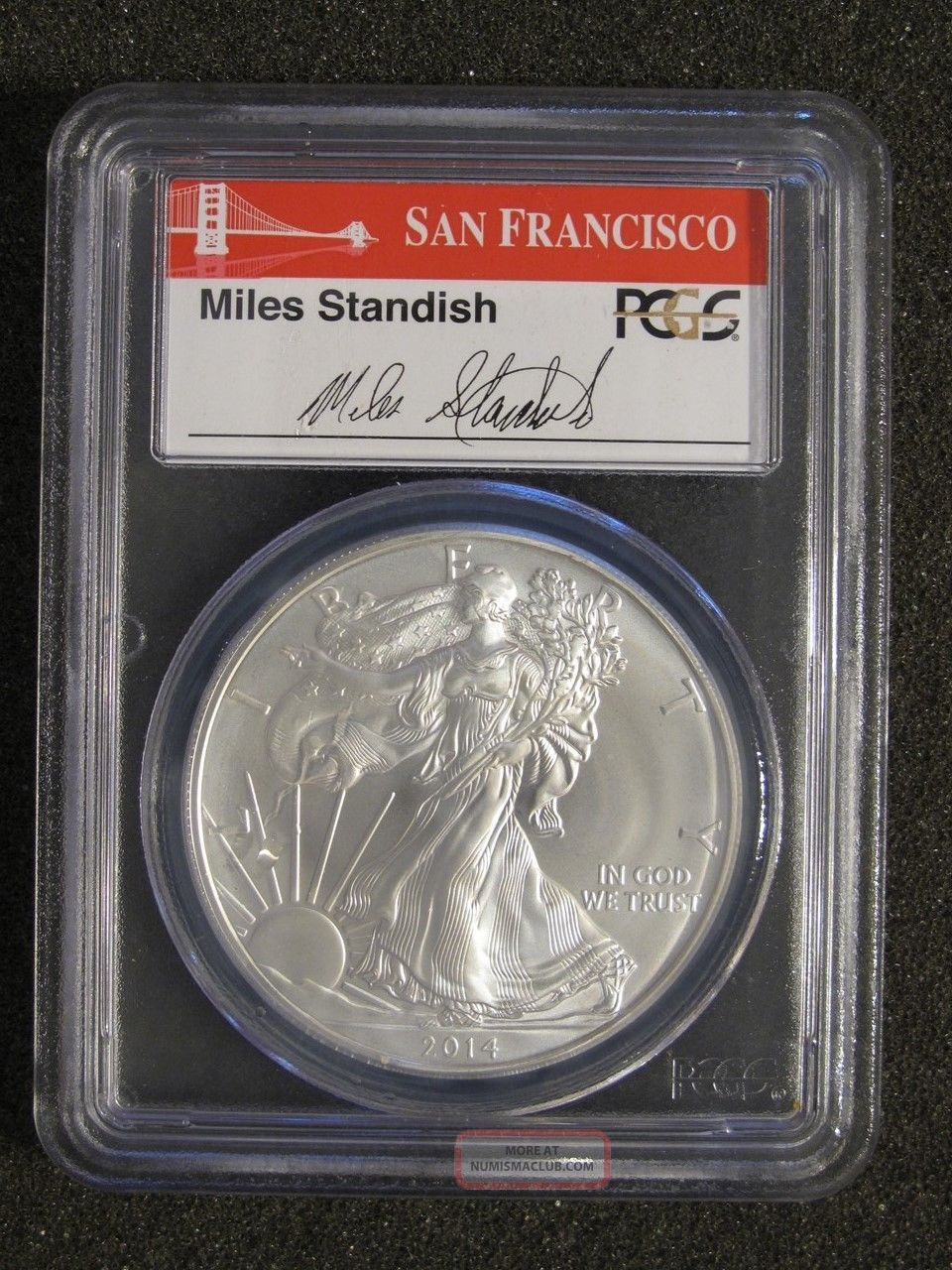 2014 (s) Silver American Eagle - Pcgs Ms70 First Strike,  Miles Standish Label Silver photo