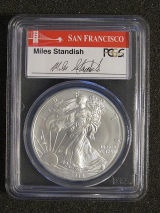 2014 (s) Silver American Eagle - Pcgs Ms70 First Strike,  Miles Standish Label photo
