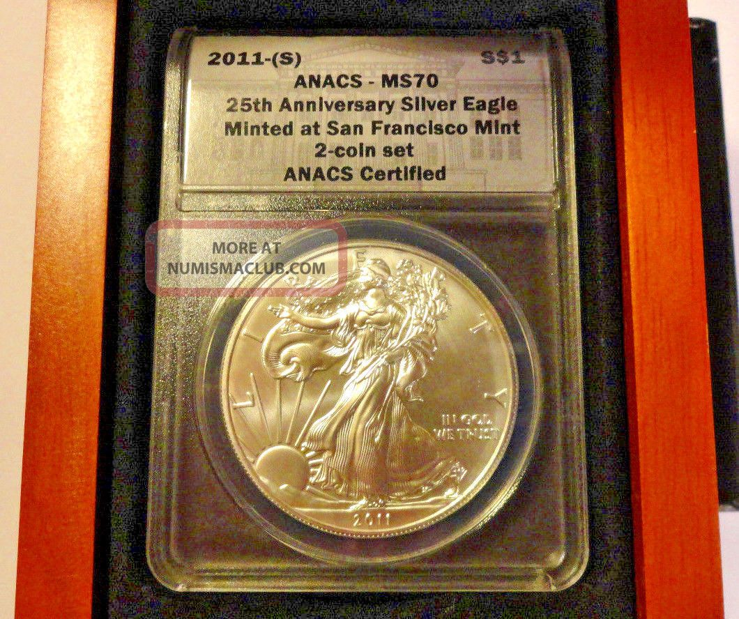 2011 (s) 25th Anniversary American Silver Eagle Ms70 Anacs Wood Box Wooden Wooded Silver photo