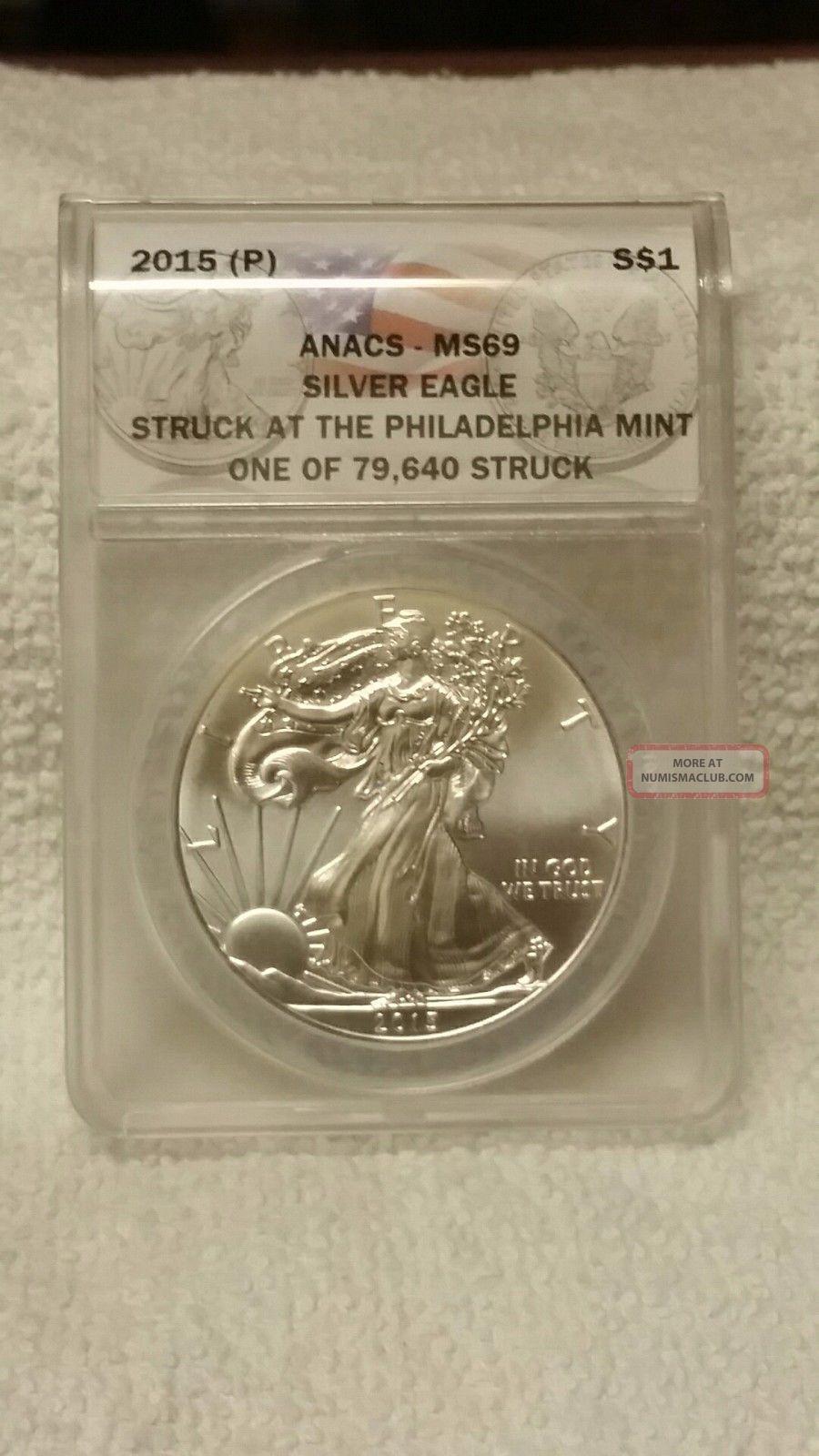 2015 (p) Silver Eagle Silver Dollar,  Ms - 69,  Philadelphia,  79,  640,  Rare Silver photo