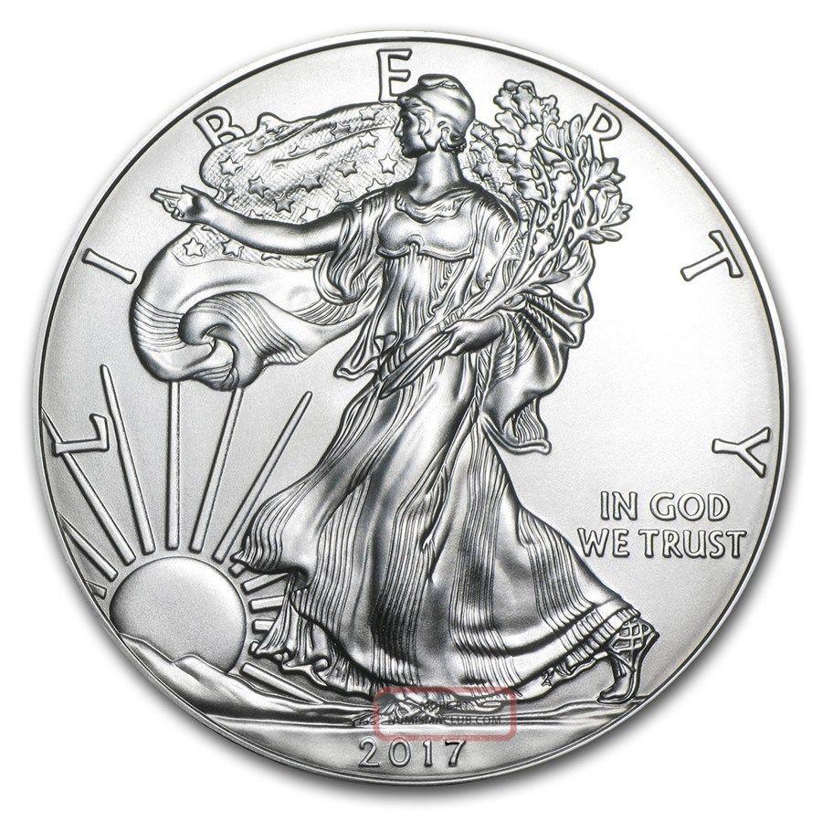 1 Ounce.  999 Fine Silver 2017 American Silver Eagle Bu,  3 Jars 24k Gold Flakes Silver photo