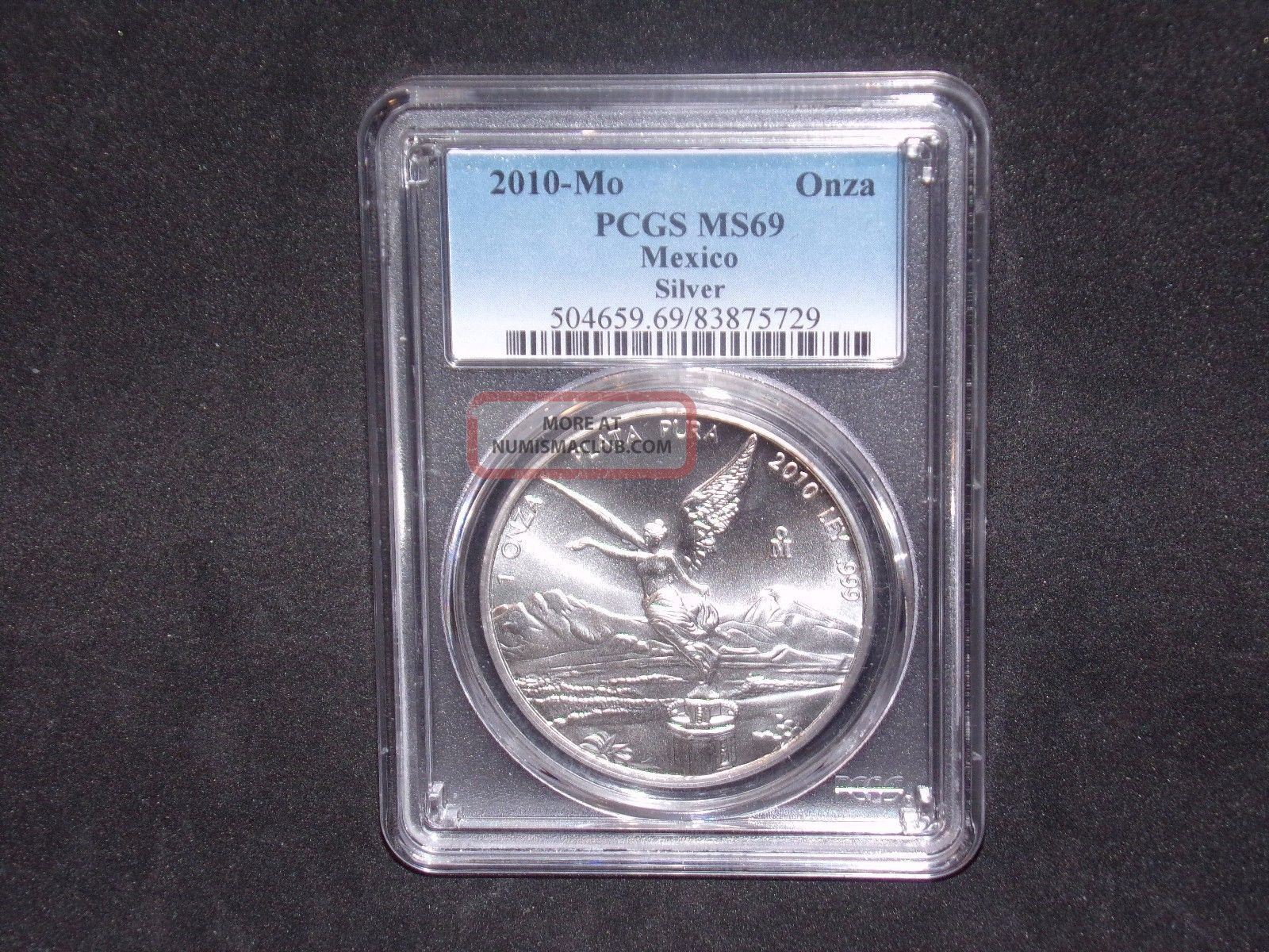 2010 - Mo Pcgs Ms69 1onza Mexico Silver Libertad Mexico photo