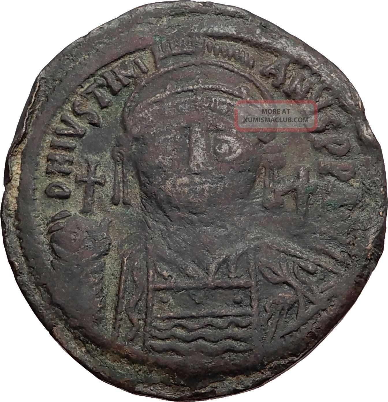Justinian I The Great 527ad Follis Large Authentic Ancient Byzantine Coin I57955 Coins: Ancient photo