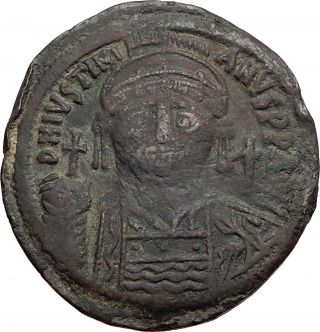 Justinian I The Great 527ad Follis Large Authentic Ancient Byzantine Coin I57955 photo