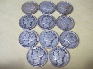 11 Circulated Mercury Silver Dimes/most With Marks photo