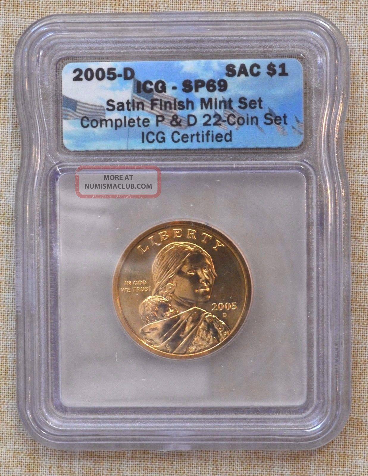 2005 - D Sacagawea Dollar - Icg Slabbed - Satin Finish - Sp69 Native American (2000-Now) photo