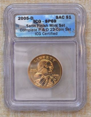 2005 - D Sacagawea Dollar - Icg Slabbed - Satin Finish - Sp69 photo
