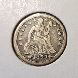 1853 Seated Liberty Dime - Vf Sharp Full ' Liberty ' photo