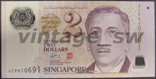 2013 Singapore Portrait Polymer 2 Dollars W/2 Triangle Back P - 46e Unc photo