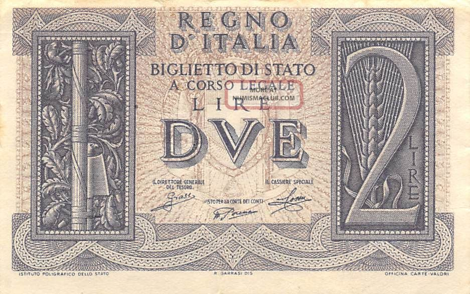 Italy 2 Lire 14.  11.  1939 P 27 Series 320 Circulated Banknote Europe photo