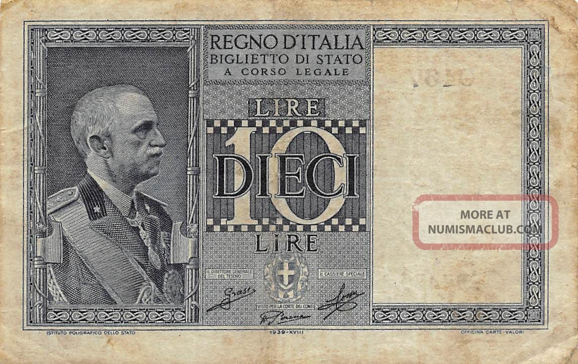 Italy 10 Lire D.  6.  18.  1939 P 25 Circulated Banknote Europe photo