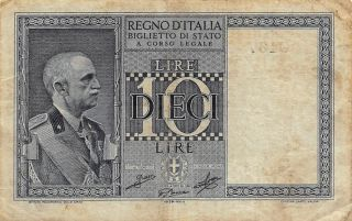 Italy 10 Lire D.  6.  18.  1939 P 25 Circulated Banknote photo