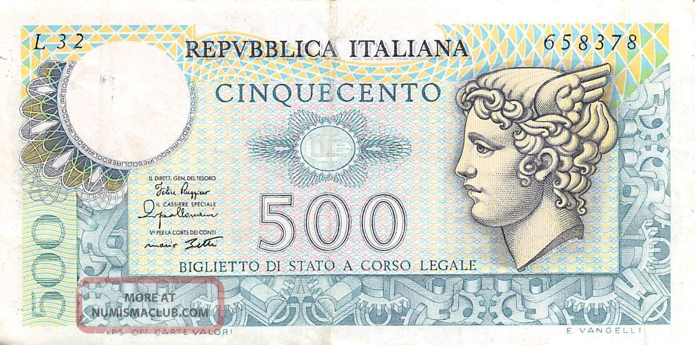 Italy 500 Lire 2.  4.  1979 P 94 Series L 32 Circulated Banknote Europe photo