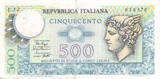 Italy 500 Lire 2.  4.  1979 P 94 Series L 32 Circulated Banknote photo