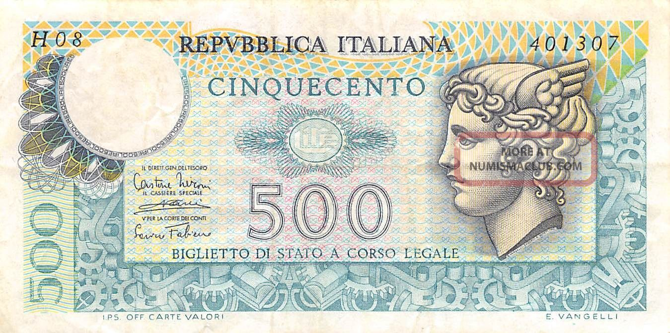 Italy 500 Lire 14.  2.  1974 P 94 Series H 08 Circulated Banknote Europe photo