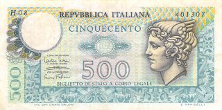 Italy 500 Lire 14.  2.  1974 P 94 Series H 08 Circulated Banknote photo