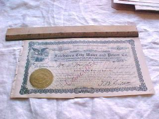 1905 Fairhaven City Water Power Washington Territory Stock Certificate 86 photo