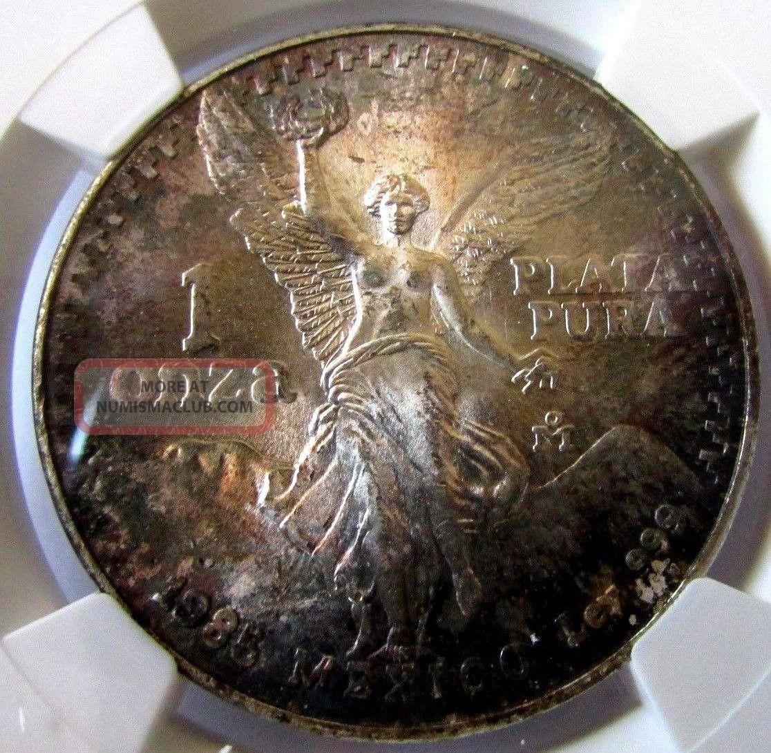 1985 Mexico Silver Onza Libertad Ngc Ms65 Toning
