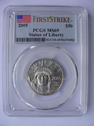 2005 $50 First Strike Platinum Statue Of Liberty Eagle,  1/2 Oz. ,  Ms69 Pcgs photo