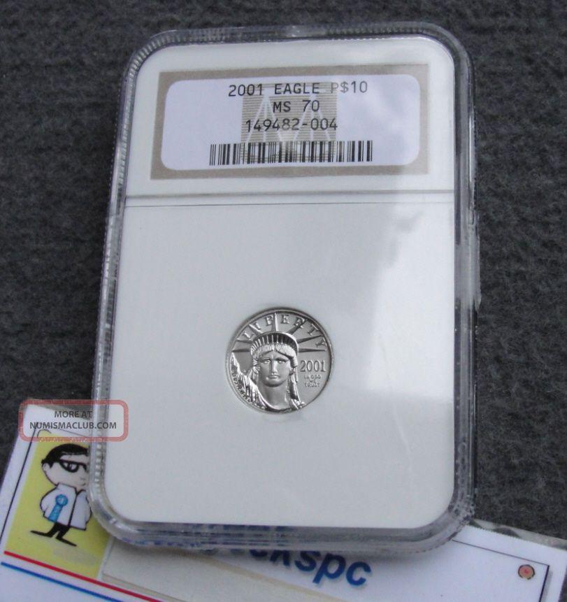 2001 Us $10 Platinum Eagle Ngc P$10 Ms70 Graded Coin Rare Valued At $400 Platinum photo