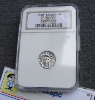 2001 Us $10 Platinum Eagle Ngc P$10 Ms70 Graded Coin Rare Valued At $400 photo