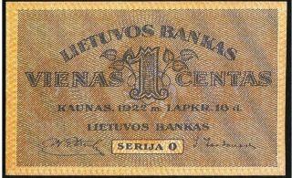 Lithuania Bank Of Lithuania 1 Centas 16.  11.  1922 Pick 7a A/unc 2 photo