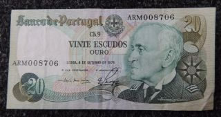 Portugal 1978 20 Escudos Note Note photo