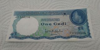 1965 Ghana,  1 Cedi Banknote. ,  P - 5,  Xf photo