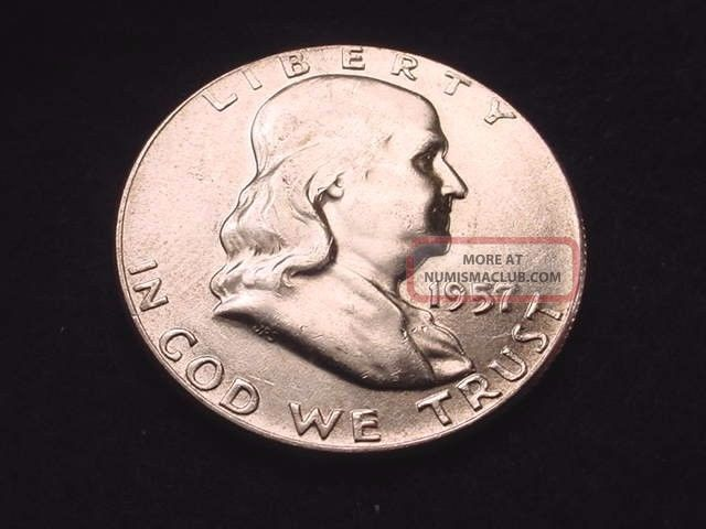 1957 Franklin Half Dollar Bu Half Dollar - - 1033 Half Dollars photo