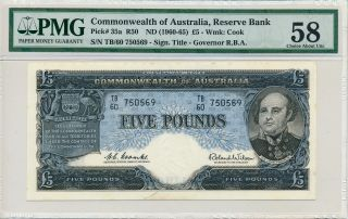 Reserve Bank Commonwealth Of Australia 5 Pounds Nd (1960 - 65) Pmg 58 photo