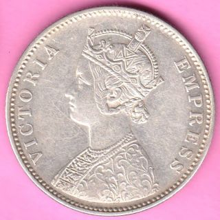 British India - 1880 - Dot Variety - One Rupee - Victoria Queen - Silver Coin - 18 photo